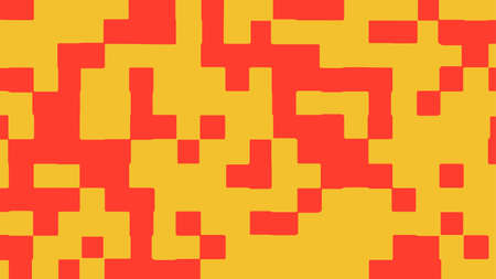 Abstract square pixel background in yellow and red color. Vector illustration.