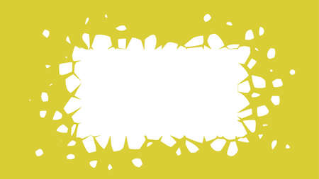 A white rectangle with flying fragments. Exploding design element with space for text, vector illustration.
