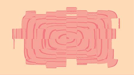 Grunge glitch rectangular design element, pink and beige vector illustration.