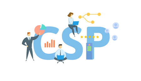 CSP, Classification Settlement Program. Concept with keyword, people and icons. Flat vector illustration. Isolated on white.