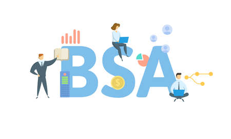 BSA, Bank Secrecy Act. Concept with keyword, people and icons. Flat vector illustration. Isolated on white.