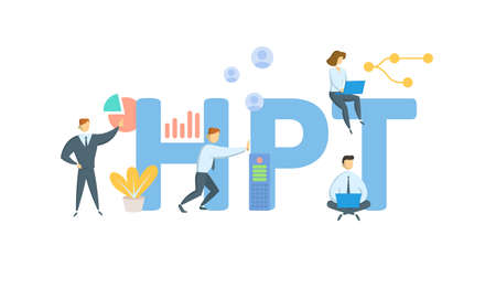 HPT, Human Performance Technology. Concept with keyword, people and icons. Flat vector illustration. Isolated on white.