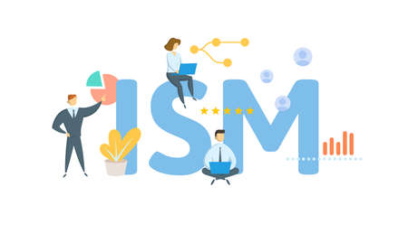 ISM, Institute of Supply Management. Concept with keyword, people and icons. Flat vector illustration. Isolated on white. 矢量图像