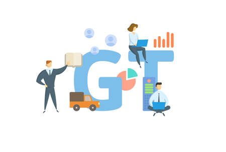 GT, Gross tonnage. Concept with keyword, people and icons. Flat vector illustration. Isolated on white. 矢量图像
