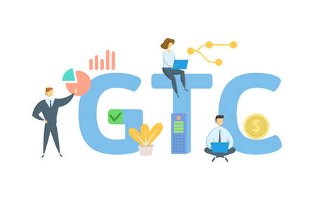 GTC, Good Till Canceled. Concept with keyword, people and icons. Flat vector illustration. Isolated on white.