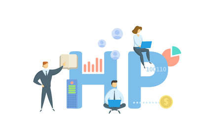 HP, Hire Purchase. Concept with keyword, people and icons. Flat vector illustration. Isolated on white. 矢量图像