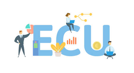 ECU, European Currency Unit. Concept with keyword, people and icons. Flat vector illustration. Isolated on white. 矢量图像