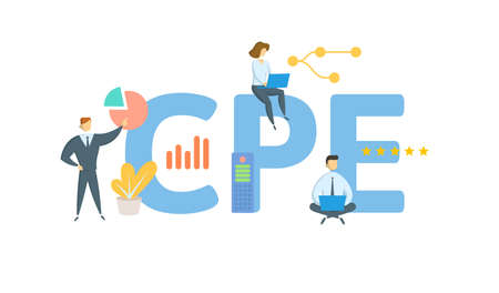 CPE, Continuing Professional Education. Concept with keyword, people and icons. Flat vector illustration. Isolated on white.