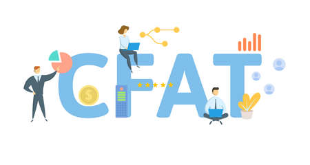 CFAT, Cash Flow After Taxes. Concept with keyword, people and icons. Flat vector illustration. Isolated on white.