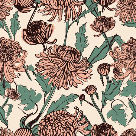 japanese chrysanthemum: Japanese chrysanthemum hand drawn seamless pattern with buds, flowers, leaves. Vintage style illustration.