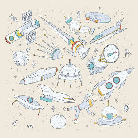 shuttles: Hand drawn cartoon space planets, shuttles, rockets, satellites, cosmonaut and other elements. Set doodles cosmic symbols and objects.