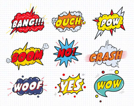 ouch: Comic sound speech effect bubbles set isolated on white background vector illustration. Wow,pow,bang,ouch,crash,woof,no,yes lettering.