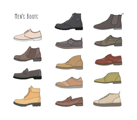 brogues: Set with different types men boots.