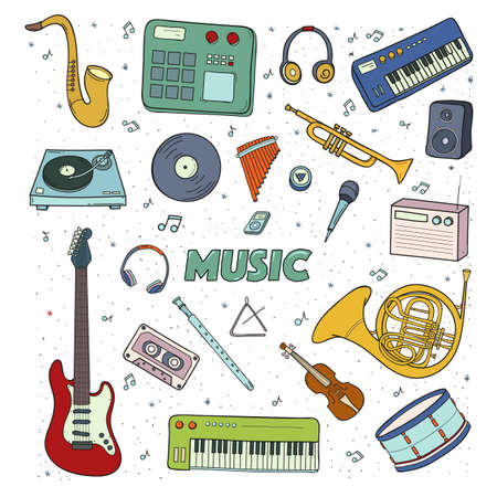 realism: Set of a musical instruments. Colorful illustration. Illustration