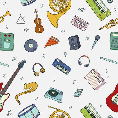Seamless con vari strumenti musicali, simboli, oggetti e elementi.