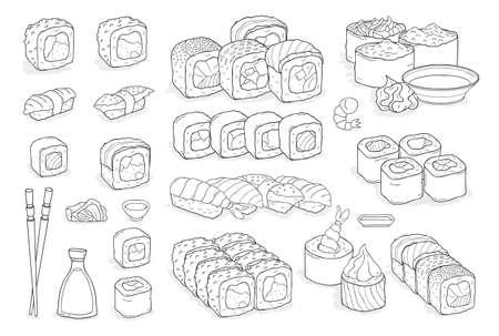 Set van sushi, broodjes, wasabi, sojasaus, gember, eetstokjes.