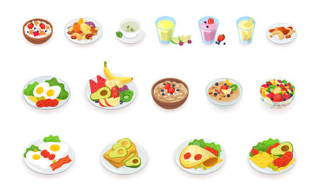 Healthy breakfast food icons collection. Muesli, cereal, fruits and berries, nuts, eggs, omelet, avocado, smoothie, drinks, sandwich. vector illustration set. Illustration