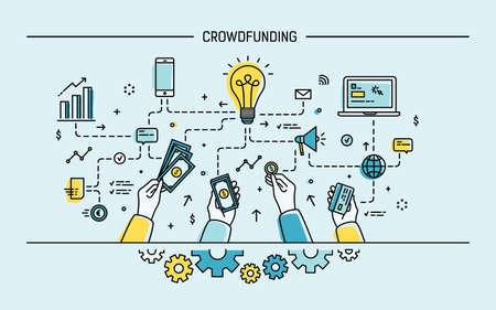 Crowdfunding. Line art colorful flat illustration.