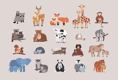 Raccoon, deer, fox, giraffe, monkey, koala, bear, cow, rabbit, sloth, squirrel hedgehog cat dog pony horse elephant wolf with cubs Cute animals with babies set.