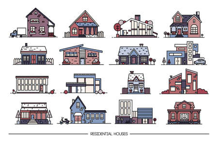 Line art residential house collection. Set of flat style. Colorful vector illustration.