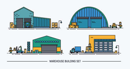 variety: Set of warehouse buildings of different shape with freight transport. Isometric. Lineart. Colorful.
