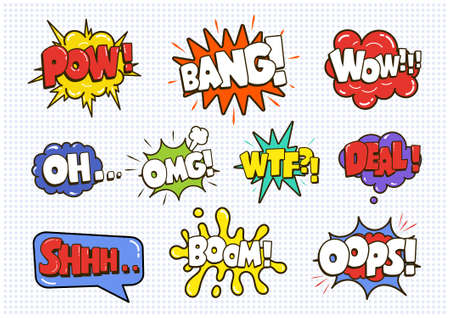 Comic sound speech effect bubbles set isolated on white background vector illustration. Illustration