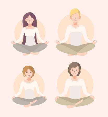 nirvana: Relaxation, isolated people illustration. Set young woman and man meditating in lotus pose and crossed legs .