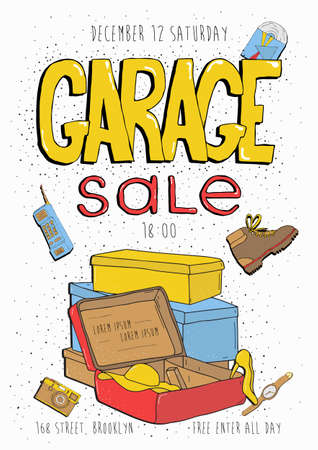 Garage sale poster, event invitation. Hand drawn colorful illustration with old goods. Illustration