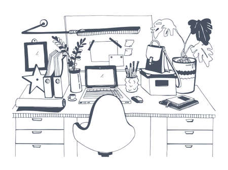 house painter: Creative modern workplace with laptop, hand drawn vector illustration, sketch style.