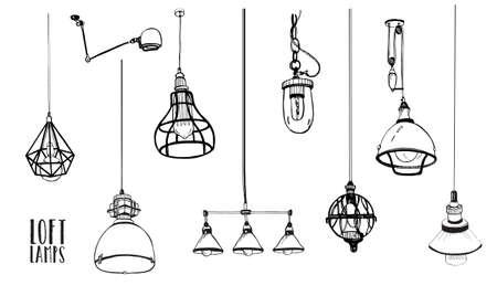 Conjunto de modernas lámparas aisladas de edison loft, vintage, bombillas estilo retro. Colección de vectores dibujados a mano. Ilustración de vector