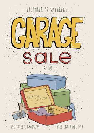 Garage sale poster, event invitation. Hand drawn colorful illustration with old goods. Camera, phone, box. Stock Vector - 73268788