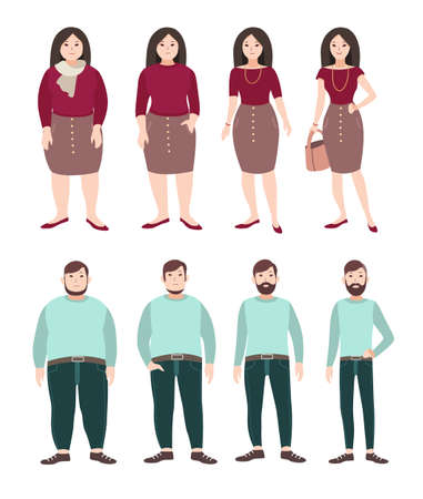 Fat and slim people. Weight loss concept. Woman and man figure. Colorful flat illustration.