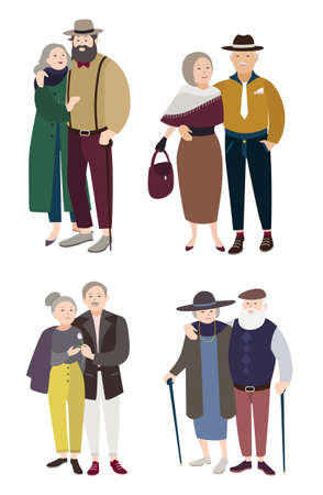 Senior couples in love. Relationships with aged man and woman. Colorful flat illustration.
