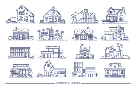 Line art residential house collection set of flat style.