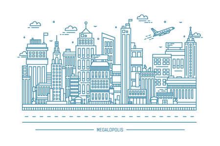 Megalopolis, big city life, contour line art illustration.