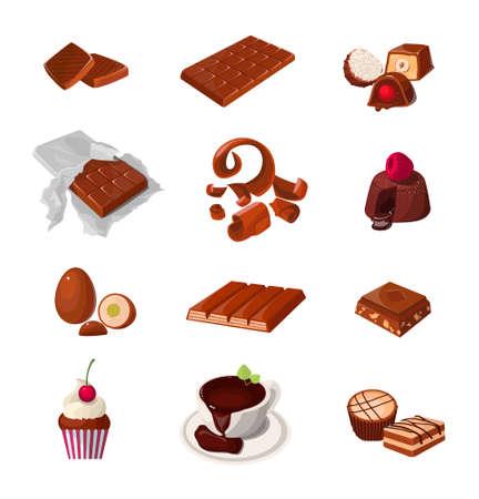 Conjunto de productos de chocolate. Varios dulces de pastelería. Ilustraciones de vectores realistas aisladas. Ilustración de vector