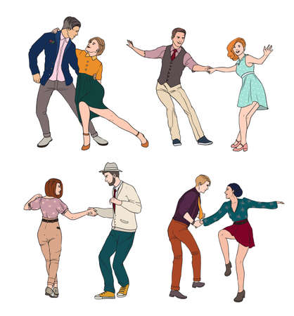 Set of a young couple dancing lindy hop, hand drawn colorful illustration.