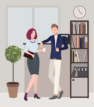 associates: Relationships at work. coffee break. woman and man are flirting. Colorful flat illustration. Illustration