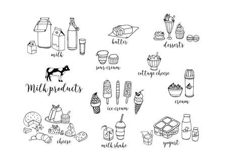 Set of hand drawn contour dairy products. Cheese, milk shake, butter, yogurt, cottage cheese, sour cream, desserts, cow. Vector illustration on white background.