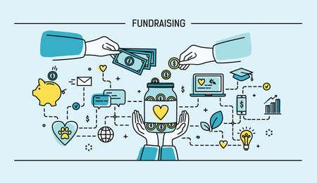 Fundraising. Line art flat vector illustration. Colorful.