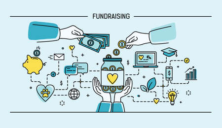 Fundraising. Line art flat vector illustration. Colorful.