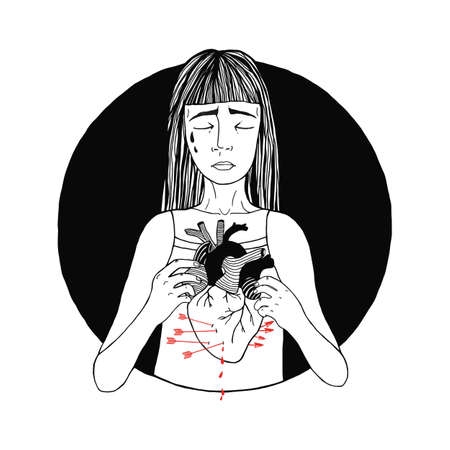 Sad and suffering girl loss of love. women, broken heart concept. hand drawn illustration Illustration
