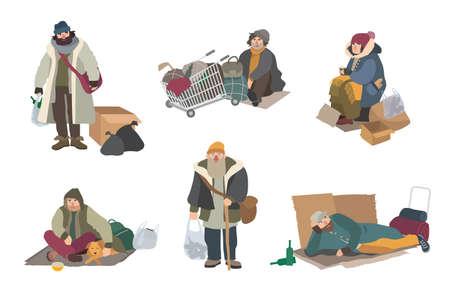 Dakloze mensen. Cartoon platte tekens set illustratie. Vector Illustratie