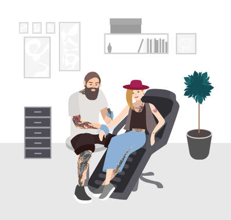 Tattoo master at work. Professional tattooer doing tattoo to young woman in studio. Tattooist with client. Flat illustration.