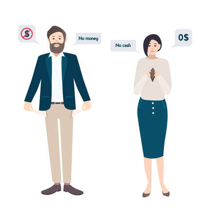 poverty: Businessman man and woman has no money, bankrupt. empty pockets concept. Characters in flat style.