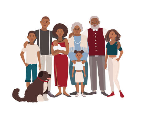 Father, mother, grandmother, grandfather, sons, daughters and dog together. Happy large black family portrait. Vector illustration of a flat design.