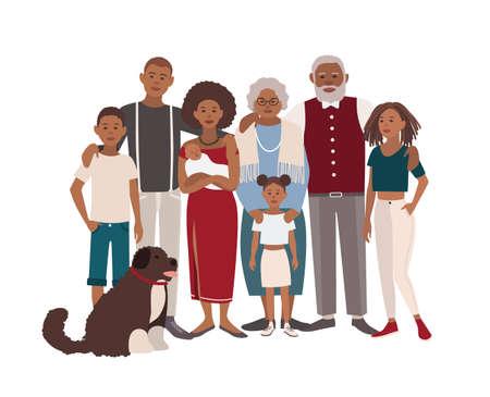 Vater, Mutter, Großmutter, Großvater, Söhne, Töchter und Hund zusammen. Glückliches großes schwarzes Familienporträt. Vector Illustration eines flachen Designs.