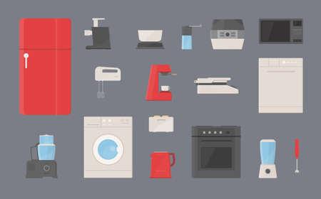 double oven: kitchen appliances set. Fridge, washing machine, kettle, blender, toaster, electric grill, coffee machine, steamer, microwave, coffee grinder, dishwasher, mixer, meat grinder flat illustrations. Illustration