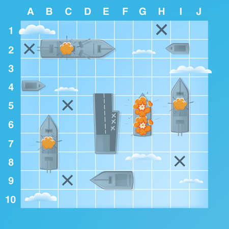 Sea battle game elements with effects. Cartoon illustration  イラスト・ベクター素材