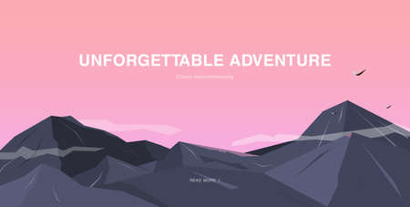 mountaineering: Horizontal background with mountains. Mountaineering colorful illustration, concept with place for text. Banner in cartoon, flat style.